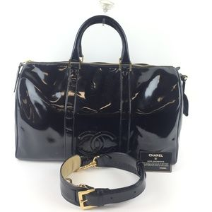 CHANEL Patent Leather Vintage CC Weekend Duffle